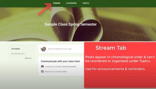 stream page in google classroom